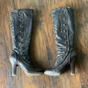 Women's Frye Heal Boots with Gold Buttons